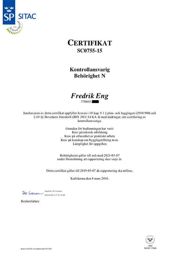 Certifikat SP SITAC Kontrollansvarig